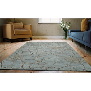 Zoe Blue Flower Hand Tufted Wool Rug (9'0 x 12'0)