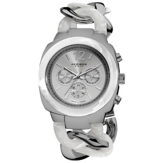 Akribos XXIV Women's Quartz Multifunction Resin Chain Silver-Tone Watch with GIFT BOX