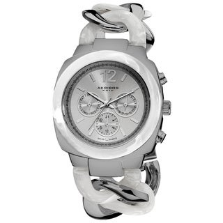 Akribos XXIV Women's Quartz Multifunction Resin Chain Silver-Tone Watch with FREE Bangle