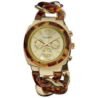 Akribos XXIV Women's Quartz Multifunction Resin Chain Watch - Tortoise/Gold