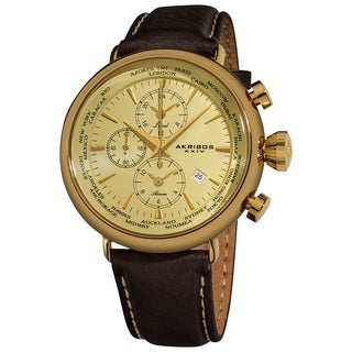 Akribos XXIV Men's World-Time Alarm Leather Gold-Tone Strap Watch