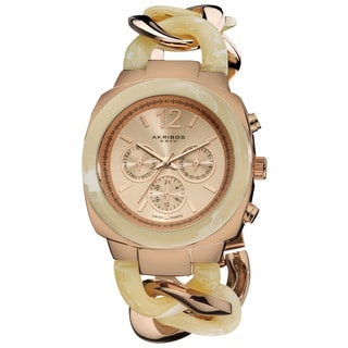 Akribos XXIV Women's Quartz Multifunction Resin Chain Watch - Bone/Rose