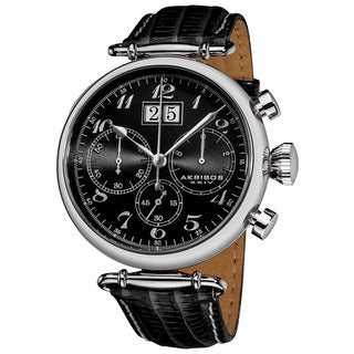 Akribos XXIV Men's Quartz Chronograph Leather Black Strap Watch