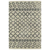 Hand-tufted Utopia Prints Grey Wool Rug - 2' x 3'