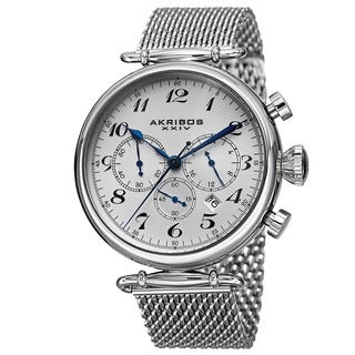 Akribos XXIV Men's Chronograph Stainless Steel Mesh Silver-Tone Bracelet Watch