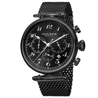 Akribos XXIV Men's Black Chronograph Stainless Steel Mesh Bracelet Watch