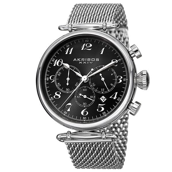 Akribos XXIV Men's Chronograph Stainless Steel Mesh Silver-Tone Bracelet Watch with Black Dial