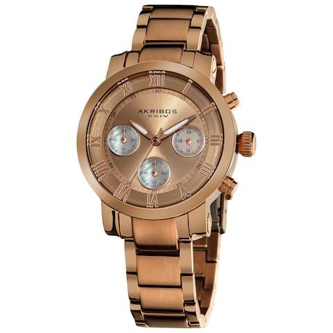 Akribos XXIV Women's Rosetone Quartz Chronograph Stainless Steel Bracelet Watch