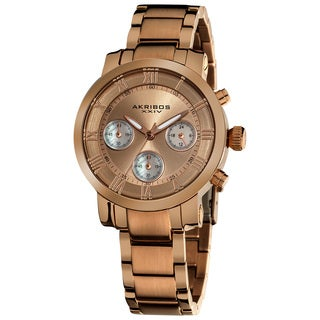Akribos XXIV Women's Rosetone Quartz Chronograph Stainless Steel Bracelet Watch with FREE Bangle