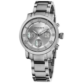Akribos XXIV Women's Silvertone Quartz Chronograph Stainless Steel Bracelet Watch with FREE GIFT|https://ak1.ostkcdn.com/images/products/8330719/Akribos-XXIV-Womens-Silvertone-Quartz-Chronograph-Stainless-Steel-Bracelet-Watch-P15643266.jpg?impolicy=medium