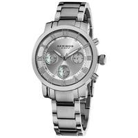 Akribos XXIV Women's Silvertone Quartz Chronograph Stainless Steel Bracelet Watch with FREE Bangle