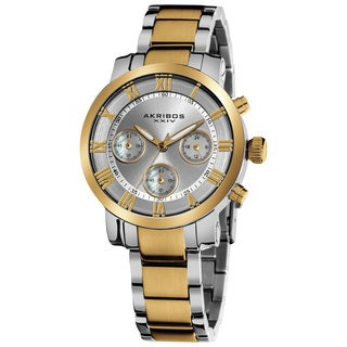 Akribos XXIV Women's Quartz Chronograph Stainless Steel Two-Tone Bracelet Watch with FREE GIFT