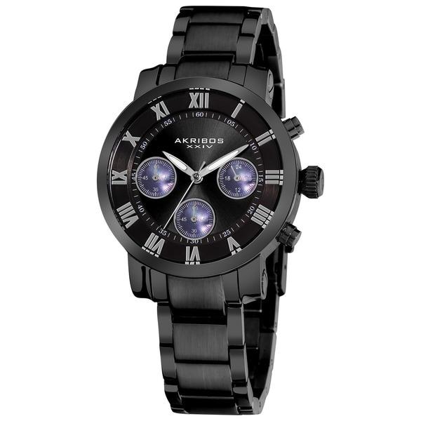 Akribos XXIV Women's Black Quartz Chronograph Stainless Steel Bracelet Watch