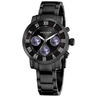 Akribos XXIV Women's Black Quartz Chronograph Stainless Steel Bracelet Watch with FREE Bangle