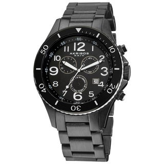 Akribos XXIV Men's Multifunction Chronograph Stainless Steel Calendar White Bracelet Watch