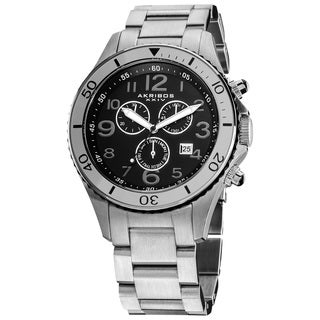 Akribos XXIV Men's Multifunction Chronograph Stainless Steel Casual Silver-Tone Bracelet Watch