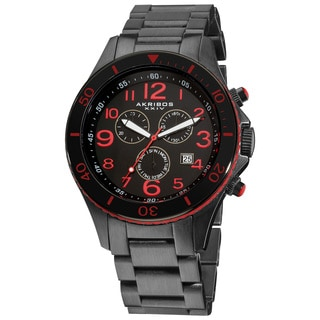 Akribos XXIV Men's Multifunction Chronograph Stainless Steel Water-resistant Red Bracelet Watch