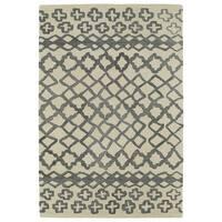 Hand-tufted Utopia Prints Grey Wool Rug - 5' x 8'