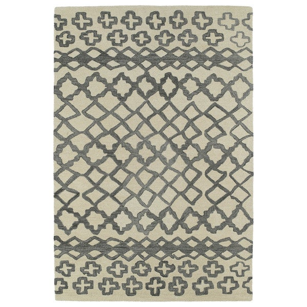 Hand-tufted Utopia Prints Grey Wool Rug - 8' x 10'
