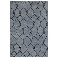 Hand-tufted Utopia Tile Blue Wool Rug - 4' x 6'