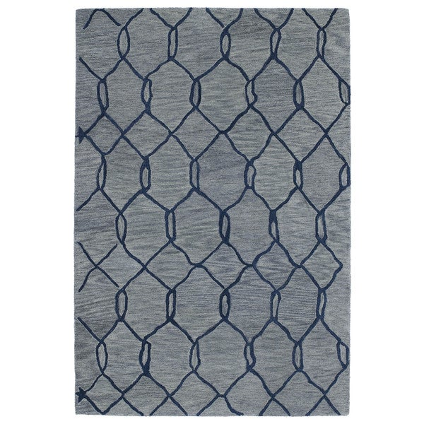 Hand-tufted Utopia Tile Blue Wool Rug - 5' x 8'