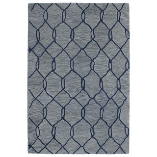 Hand-tufted Utopia Tile Blue Wool Rug (5' x 8')