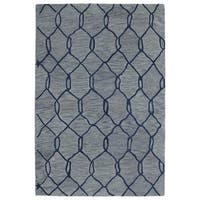 Hand-tufted Utopia Tile Blue Wool Rug - 8' x 11'