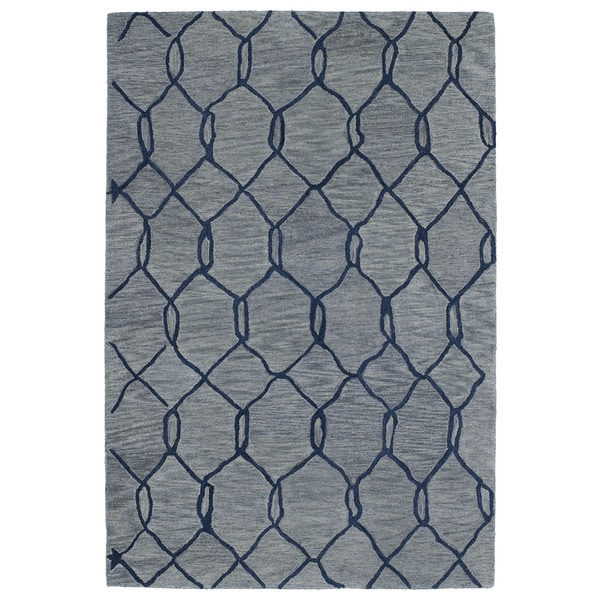 Hand-tufted Utopia Tile Blue Wool Rug - 9'6 x 13'6