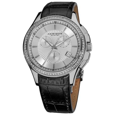 Akribos XXIV Women's Water-resistant Chronograph Step-dial Leather-Silver-Tone Strap Watch