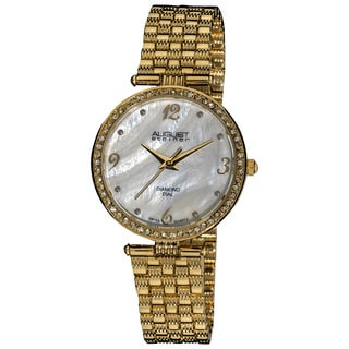 August Steiner Ladies' Goldtone Swiss Quartz Diamond Dial Slim Bracelet Watch