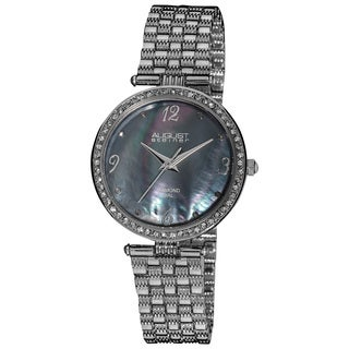 August Steiner Ladies Swiss Quartz Diamond Dial Slim Silver-Tone Bracelet Watch