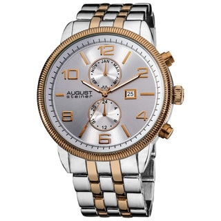 August Steiner Men's Swiss Quartz Coin-edge Bezel Two-Tone Bracelet Watch - Silver/Rose