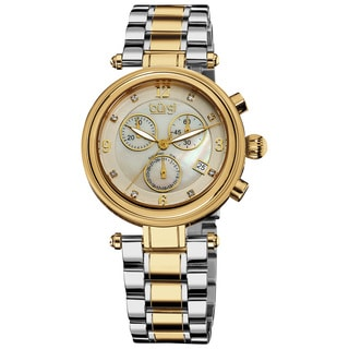 Burgi Women's Mother of Pearl Dial Chronograph Stainless Steel Gold-Tone Bracelet Watch
