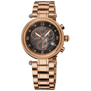 Burgi Women's Rosetone Mother of Pearl Dial Chronograph Stainless Steel Bracelet Watch