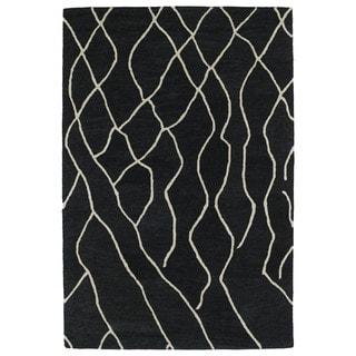 Hand-tufted Utopia Peaks Charcoal Wool Rug (4' x 6')