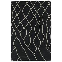 Hand-tufted Utopia Peaks Charcoal Wool Rug - 5' x 8'