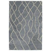 Hand-tufted Utopia Peaks Blue Wool Rug - 4' x 6'