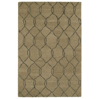 Hand-tufted Utopia Tile Brown Wool Rug (8' x 11')