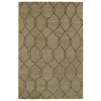 Hand-tufted Utopia Tile Brown Wool Rug - 8' x 11'