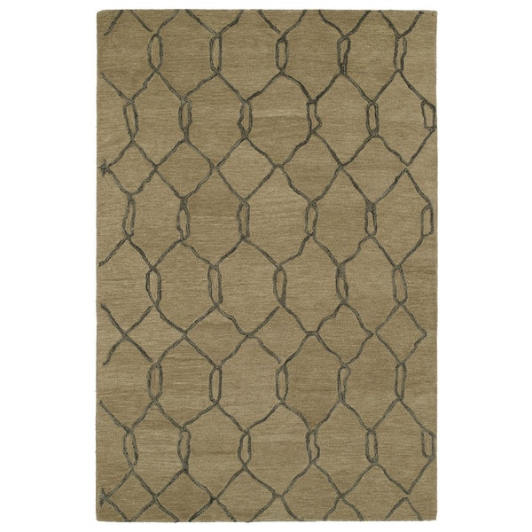 Hand-tufted Utopia Tile Brown Wool Rug (9'6 x 13'6)