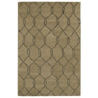 Hand-tufted Utopia Tile Brown Wool Rug (9'6 x 13'6)