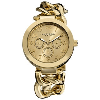 Akribos XXIV Women's Twist Chain Quartz Multifunction Watch with Goldtone Dial with FREE GIFT