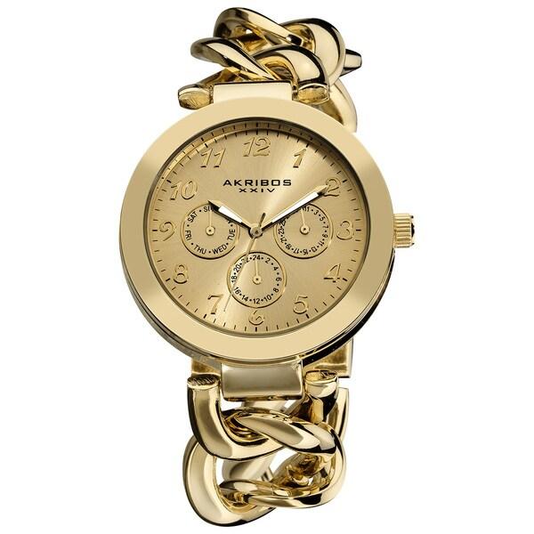Akribos XXIV Women's Twist Chain Quartz Multifunction Watch with Goldtone Dial with FREE Bangle