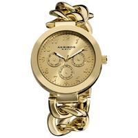 Akribos XXIV Women's Twist Chain Quartz Multifunction Watch with Goldtone Dial