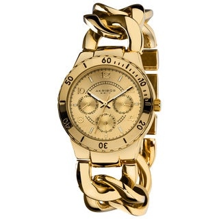 Akribos XXIV Women's Goldtone Quartz Multifunction Chain Link Divers Watch