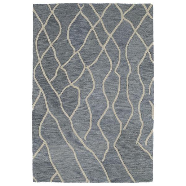 Hand-tufted Utopia Peaks Blue Wool Rug (2' x 3') - 2' x 3'