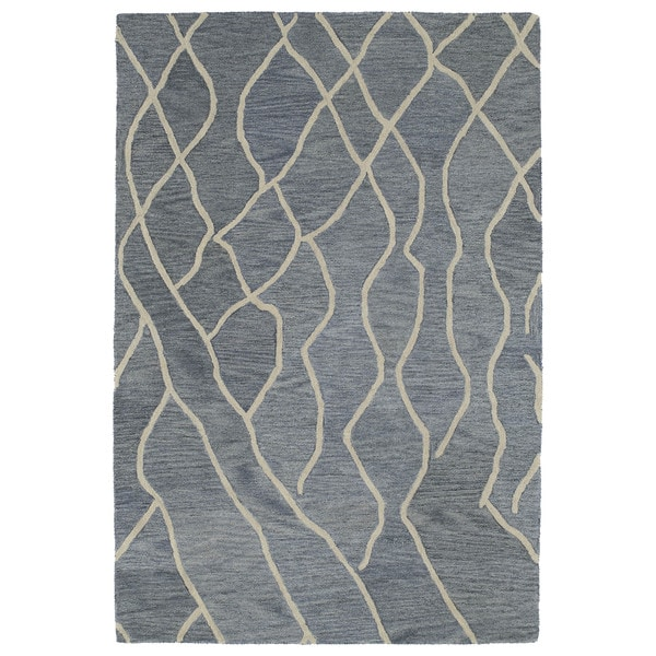 Hand-tufted Utopia Peaks Blue Wool Rug - 5' x 8'