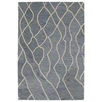 Hand-tufted Utopia Peaks Blue Wool Rug - 9'6 x 13'6