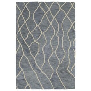 Hand-tufted Utopia Peaks Blue Wool Rug - 9'6 x 13'6