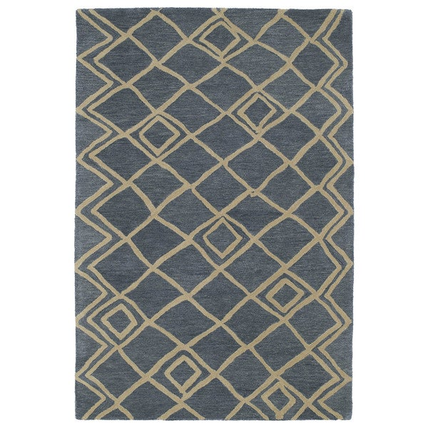 Hand-tufted Utopia Lucca Blue Wool Rug - 5' x 8'